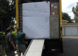 Full moving truck with back door